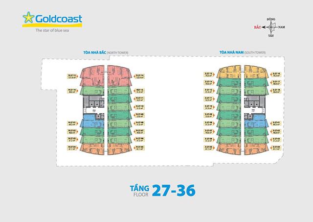 mat bang can ho - Mặt bằng căn hộ Gold Coast Nha Trang từ tầng 14 đến tầng 26