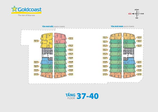 mat bang du an - Mặt bằng căn hộ Gold Coast Nha Trang từ tầng 37 đến tầng 40