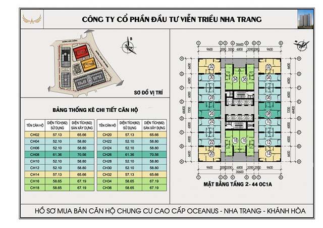 mat bang du an - Mặt bằng căn hộ chung cư ốc 1A